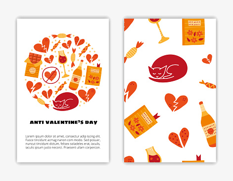 Card templates with Anti Valentine s day doodles.