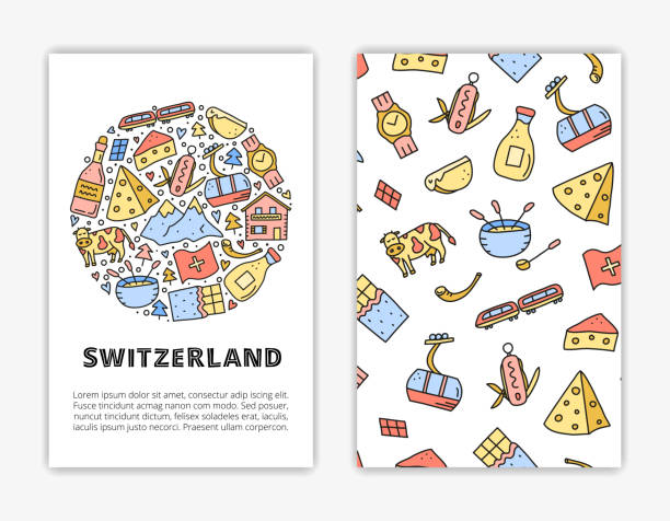 kartenvorlagen mit schweiz reisesymbolen. - raclette stock-grafiken, -clipart, -cartoons und -symbole
