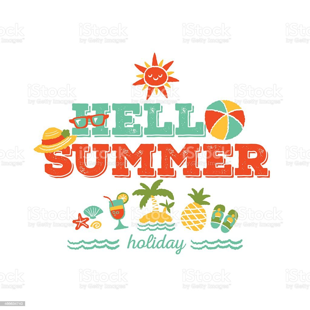 A Card That Says, Hello Summer Holiday Royalty Free A Card That Says Hello