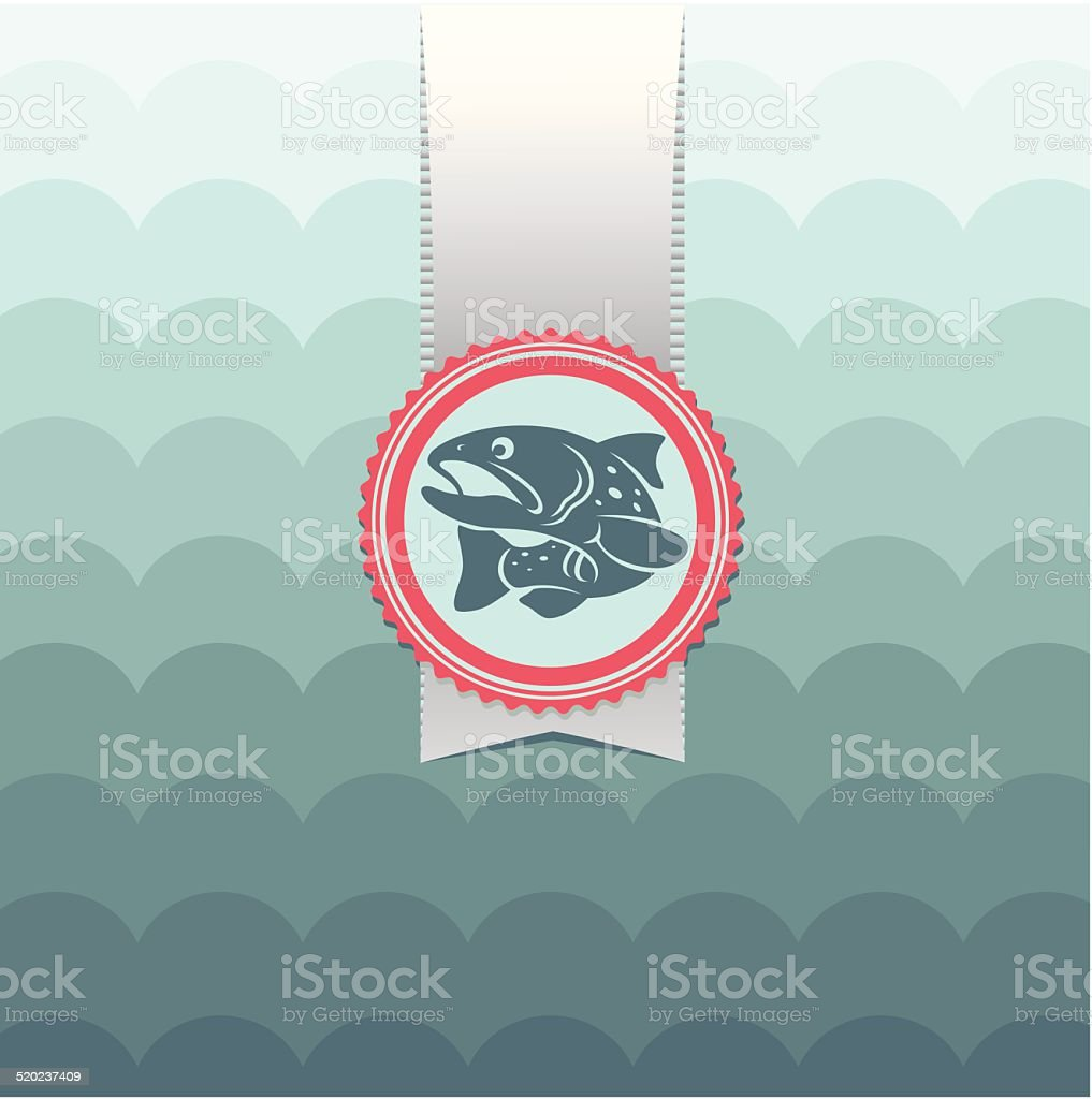 card trout vector art illustration