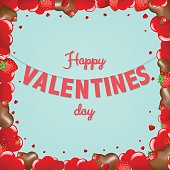 Card Valentines Day With Gradient Mesh, Vector Illustration
