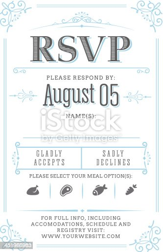 Vintage RSVP card (response to an invitation) design.