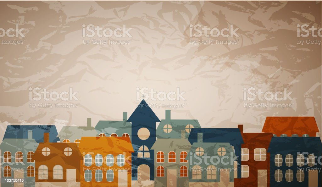 Card with a beautiful little  town. Vector illustration royalty-free card with a beautiful little town vector illustration stock vector art & more images of abstract