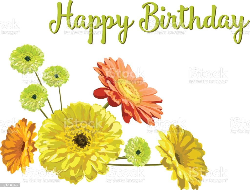 Card With A Bouquet And Congratulation Happy Birthday From Flowers