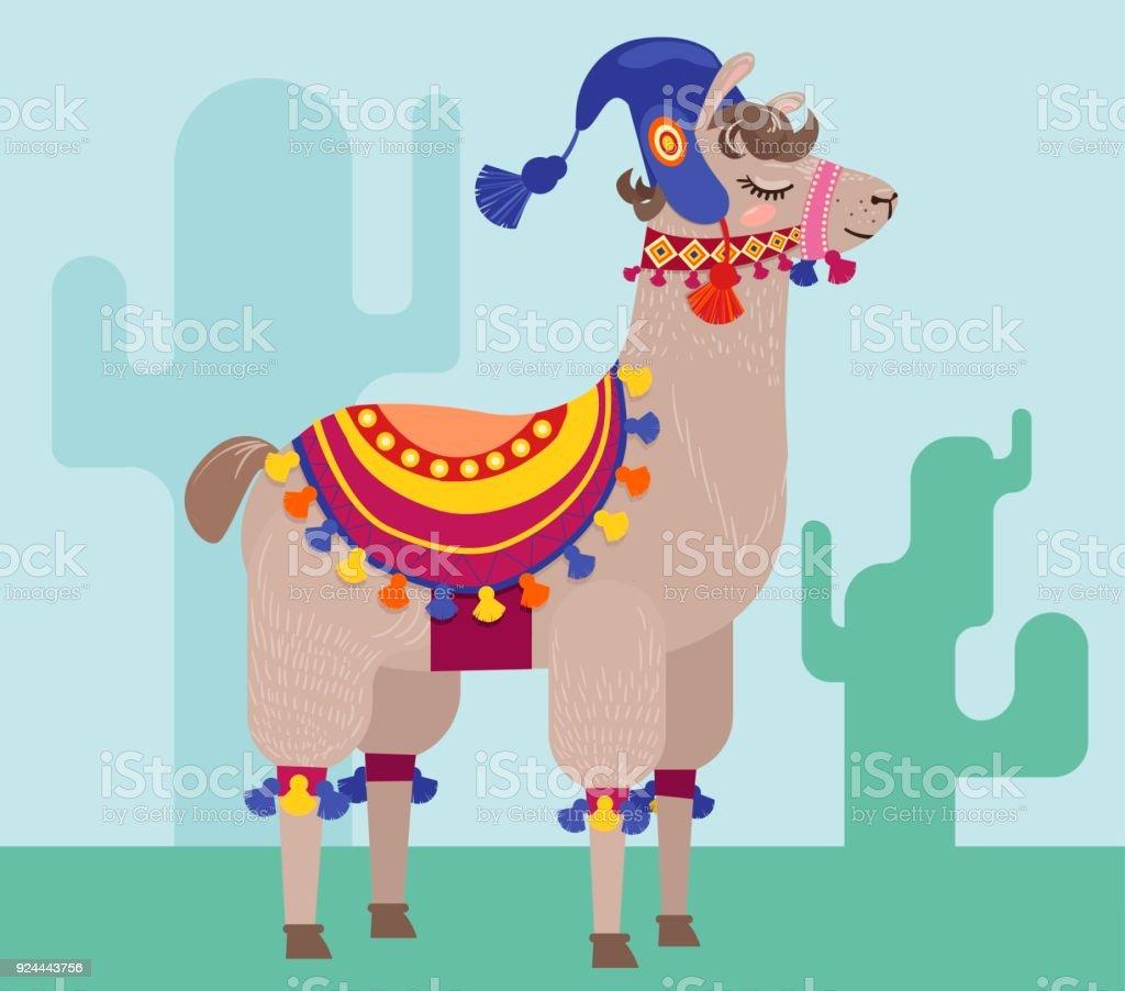 Tarjeta con una alpaca alegre en una manta con pompones. - ilustración de arte vectorial