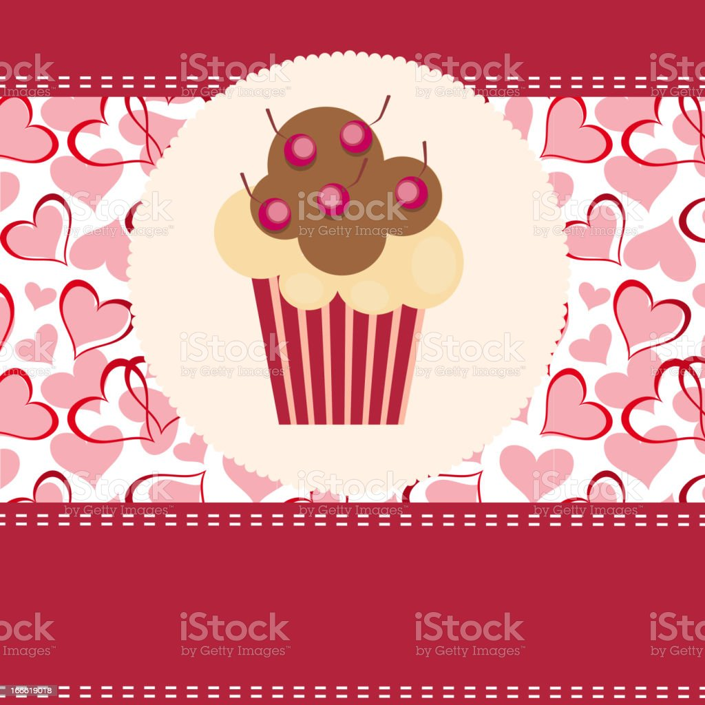 Card with a cupcake. vector illustration royalty-free stock vector art