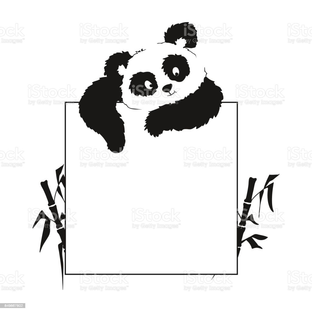 Card With A Panda That Looks From Above Suitable For Making Menu