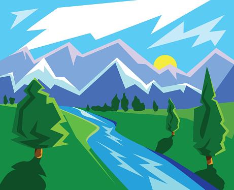 card with a sunny stylized landscape