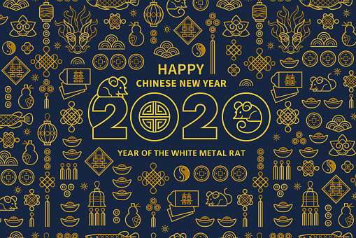 Card with a White Metal Rat symbol of 2020 on the Chinese calendar.
