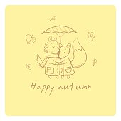 Card with cute cartoon wolf and fox in love. Funny animals under  umbrella. Autumn time. Falling leaves. Rainy weather. Children's illustration. Vector contour image.