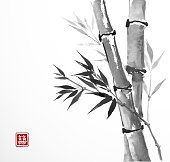 Card with bamboo on white background