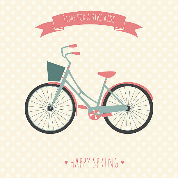 Card with bike. Vector illustration. Time for a bike ride. vector art illustration