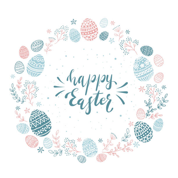 Card with Blue and Pink Easter Eggs on White Background Round card with blue and pink Easter eggs and floral elements. Lettering Happy Easter isolated on white background, illustration. easter stock illustrations