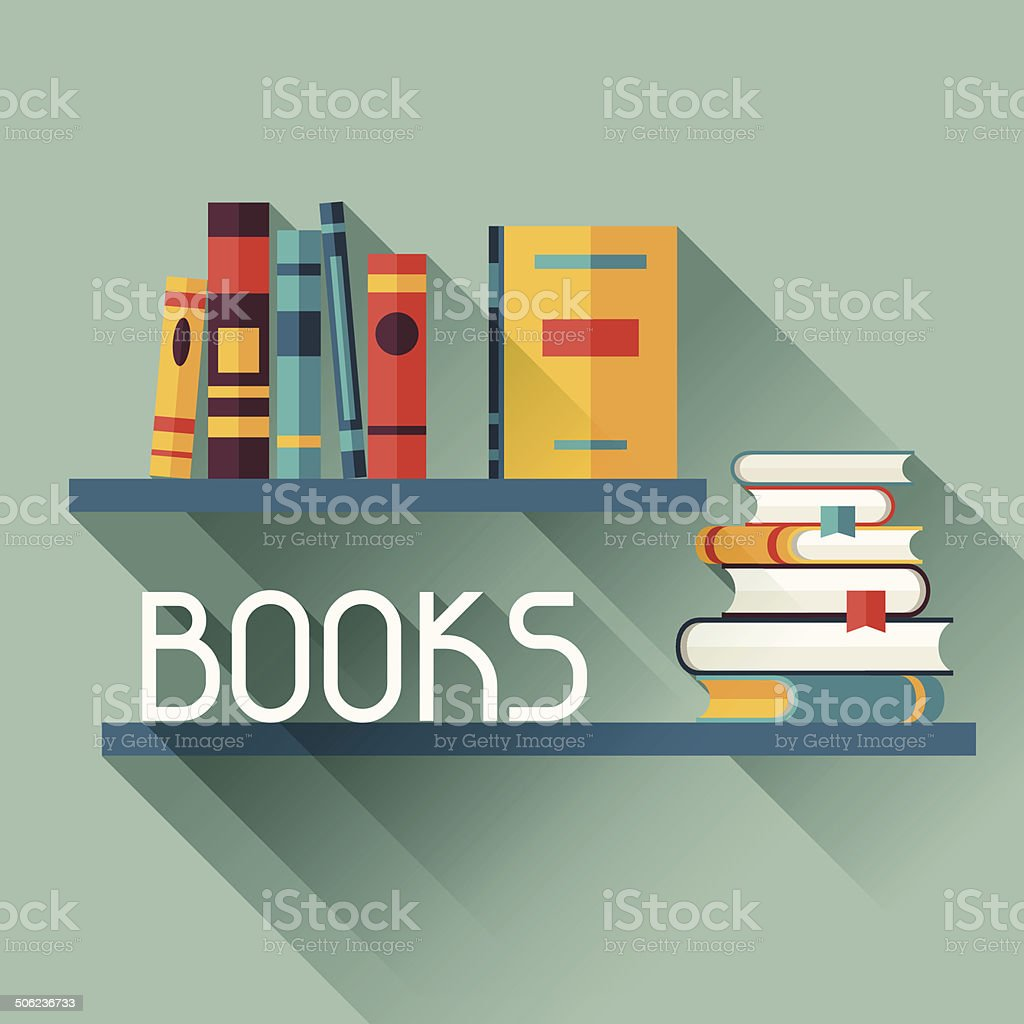 Card with books on bookshelves in flat design style. vector art illustration