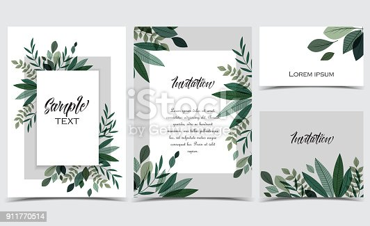 istock Card with branches and leaf 911770514