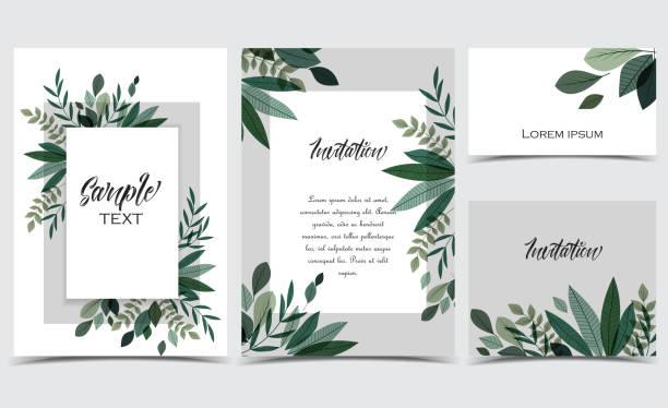 ilustrações de stock, clip art, desenhos animados e ícones de card with branches and leaf - christmas elements