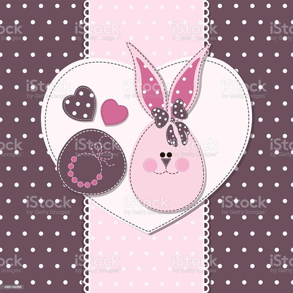 Karte Mit Bunny Für Einladungen Dusche Begrüßung Für Babys Mädchen ...
