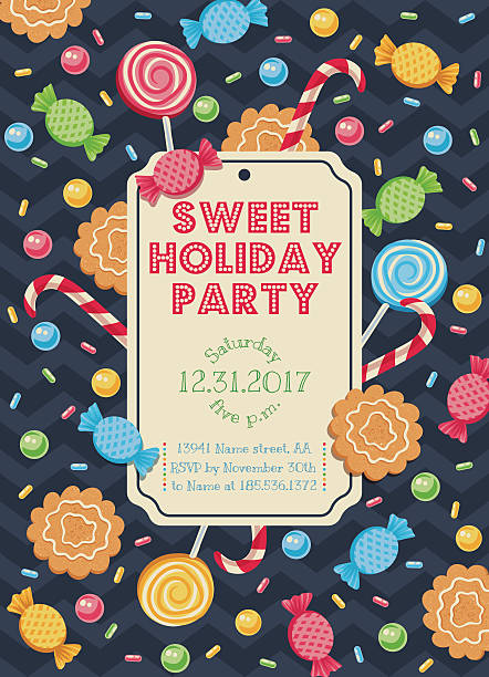 card with candies Vintage vector card with candies for parties or holidays candy borders stock illustrations