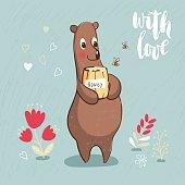 Card with Cartoon bear and honey.