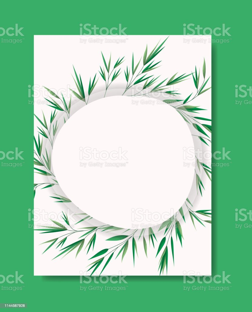 card with circular frame and laurel leafs vector illustration design