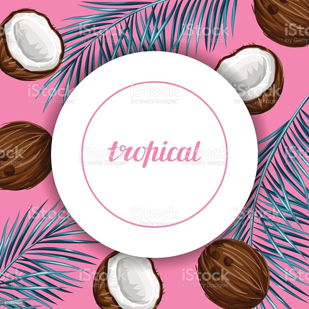 Card with coconuts. Tropical abstract frame in retro style. Image vector art illustration