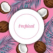 Card with coconuts. Tropical abstract frame in retro style. Image
