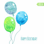 Card with colored watercolor paint balloons. Vector isolated illustration.