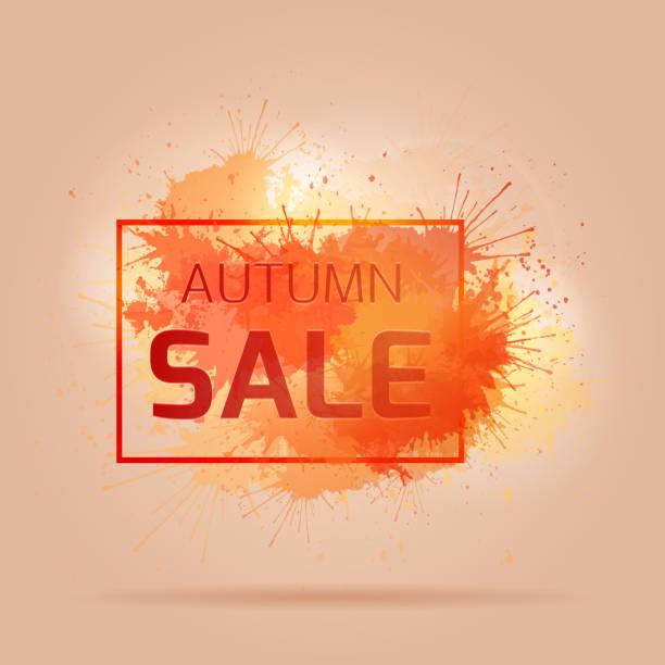 ilustraciones, imágenes clip art, dibujos animados e iconos de stock de tarjeta con colorida salpicaduras, otoño de venta. - sparks