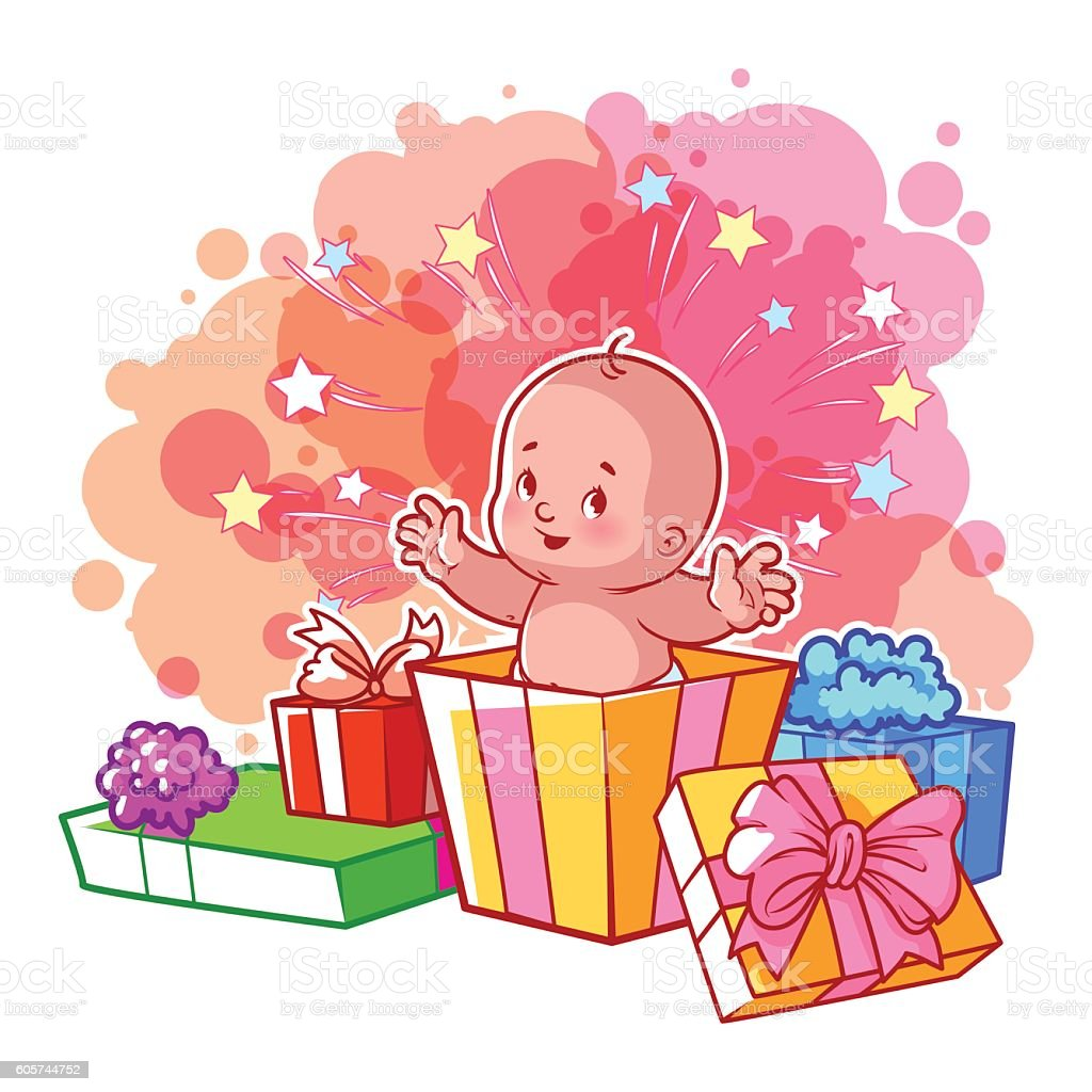 Card with cute baby girl in gift box stock vector art 605744752 card with cute baby girl in gift box royalty free stock vector art negle Images