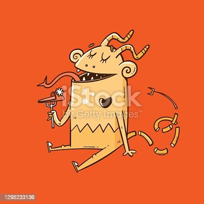 istock Card with  cute cartoon monster. Funny fairy animal print. Line art doodle creature poster. Illustration for children. 1295233136