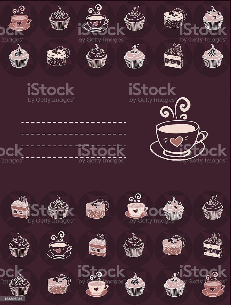 Card  with desserts, coffee and hot cacao royalty-free card with desserts coffee and hot cacao stock vector art & more images of backgrounds