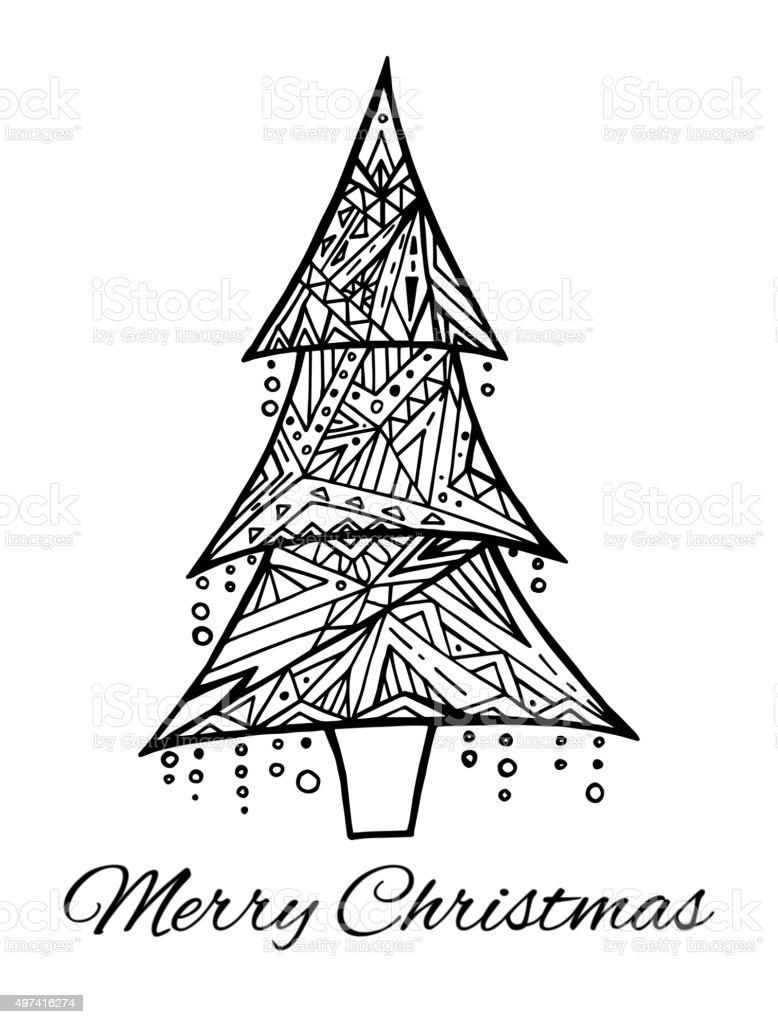 Cartao Com Desenhos Preto E Branco Arvore De Natal E Saudacoes