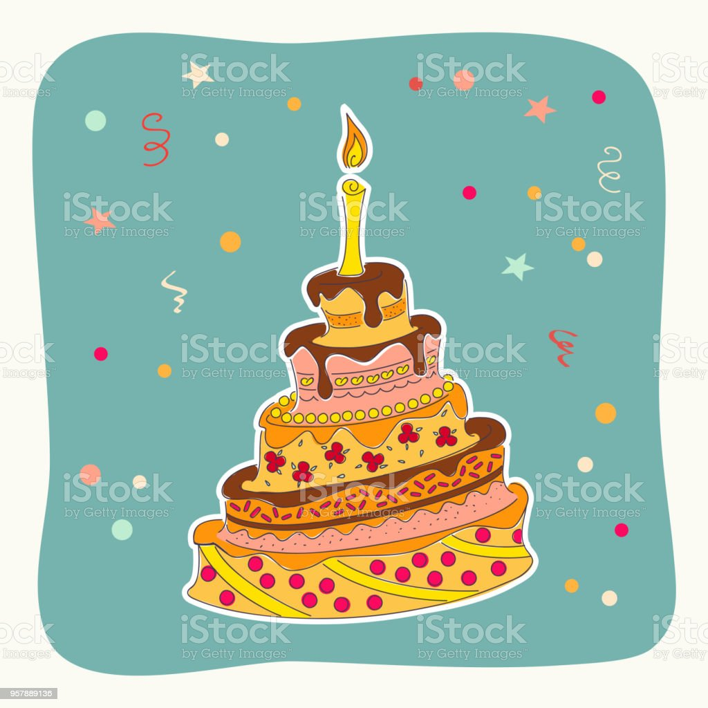 Royalty Free Vintage Birthday Cake Background Clip Art Vector