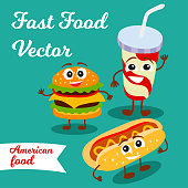 Card with fast food (hamburger, hot dog and soft drink in cup with straw).