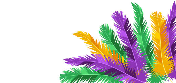 Card with feathers in Mardi Gras colors. Card with feathers in Mardi Gras colors. Carnival background for traditional holiday or festival. mardi gras stock illustrations