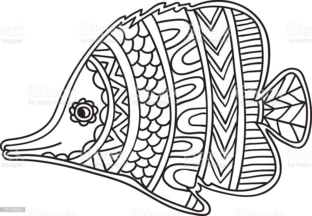Card With Fish Coloring Book Page For Adults And Child Stock Vector ...
