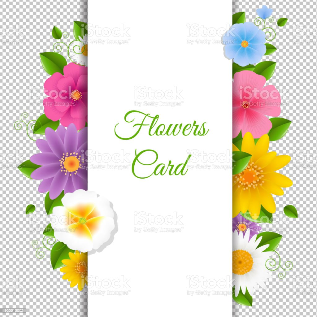 Card With Flowers Happy Birthday Card Stock Vector Art More Images