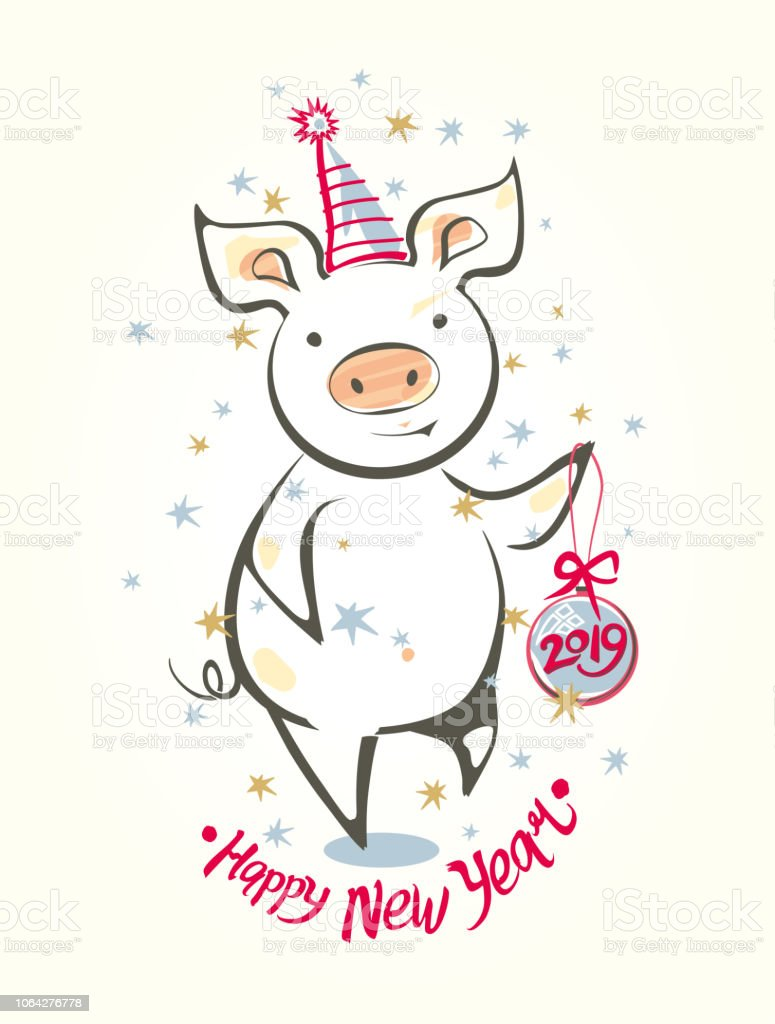 Card With Funny Dancing Pig And Christmas Ball Happy New Year Stock ...
