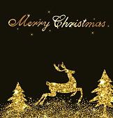 Christmas shining background with golden glitter deer and firs. Design for Christmas card.