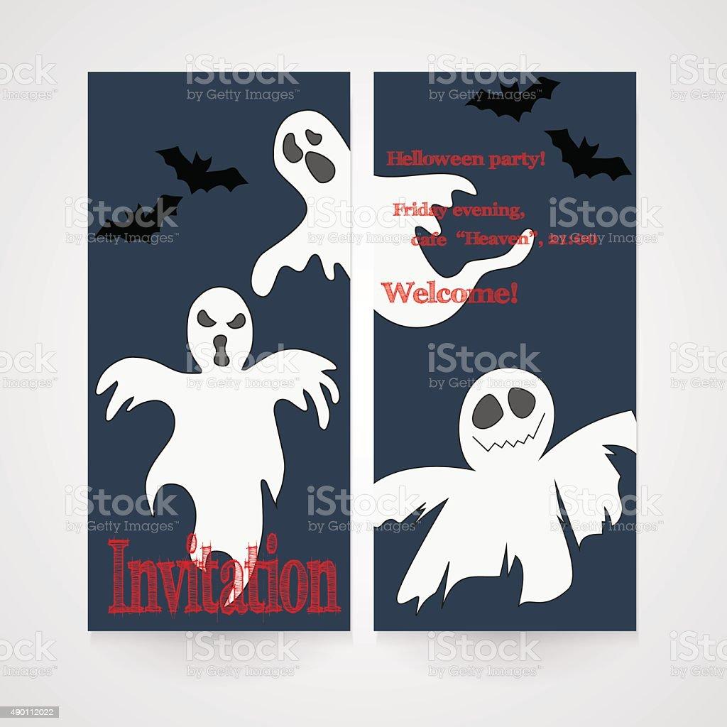 Karte Mit Zeichnung Doodle Geister Einladung Für Halloweenparty