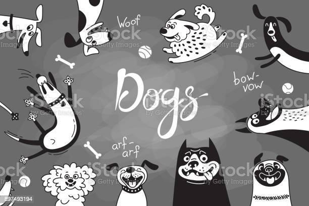 Card with joyful dogs and happy puppies vector background with vector id897493194?b=1&k=6&m=897493194&s=612x612&h=io7ptfar 0vmfwuluxenokcgbw8nloybhwubxstysdi=