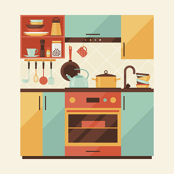 Royalty Free Kitchen Background Clip Art, Vector Images