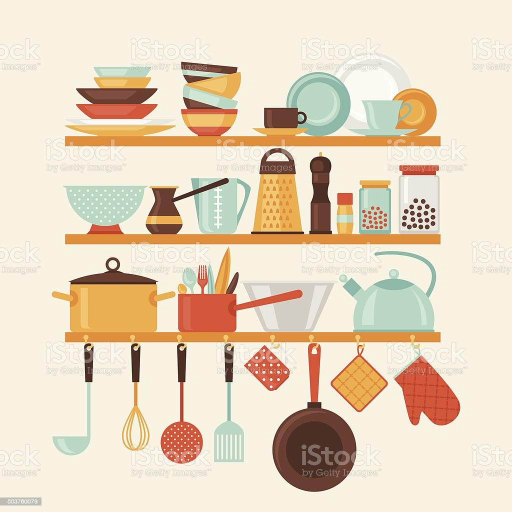 Card with kitchen shelves and cooking utensils in retro style. vector art illustration