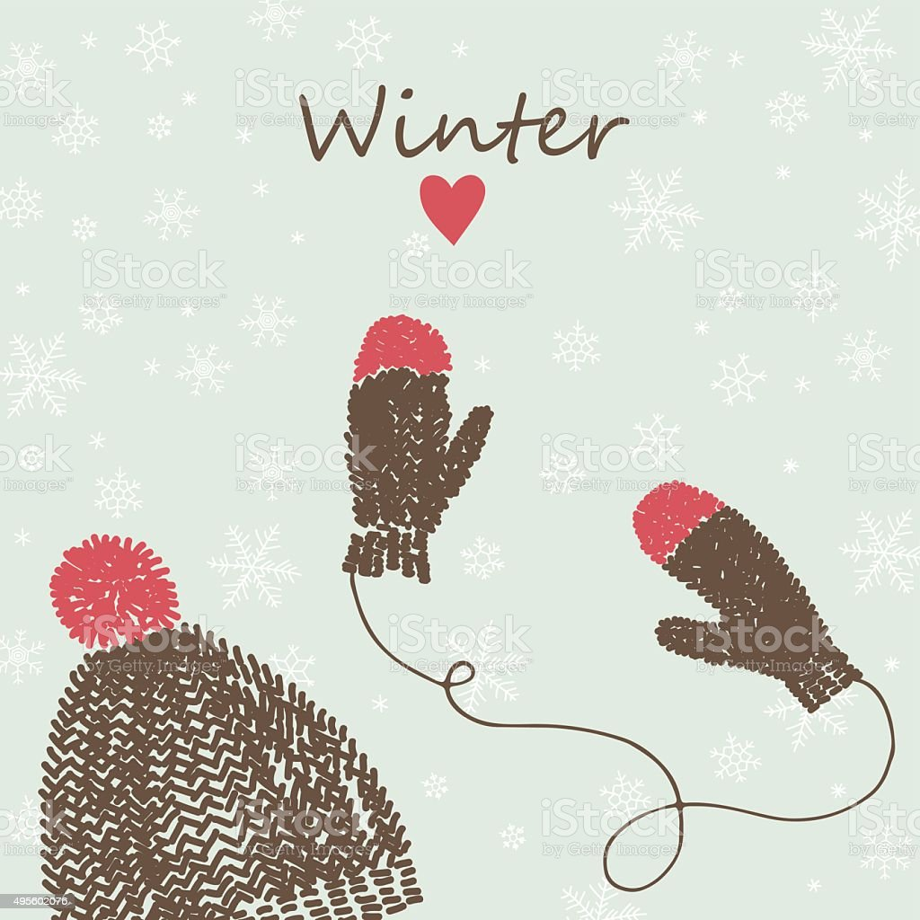 card with knitted cap and mittens vector art illustration