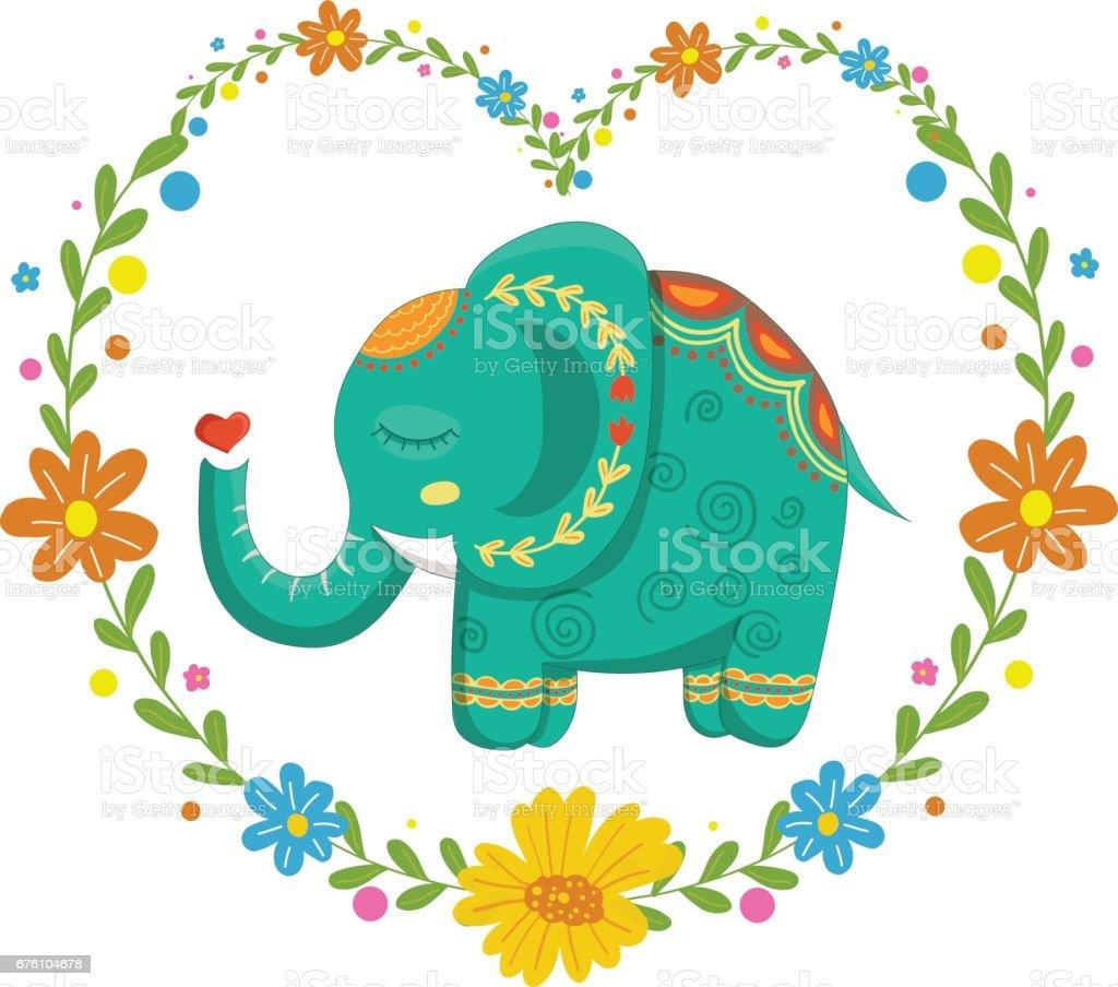 Karte Mit Schönen Niedlichen Muster Elefant Inmitten Der Blumen ...