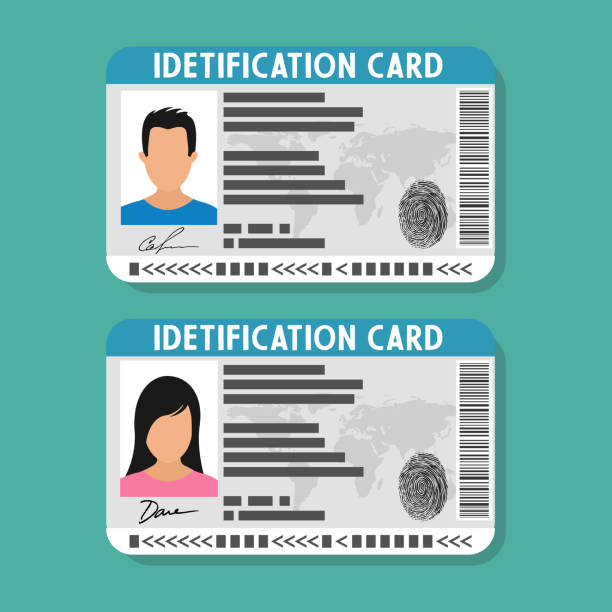 ID card with man and woman photo. ID card with man and woman photo. Vector illustration in flat style. id card stock illustrations