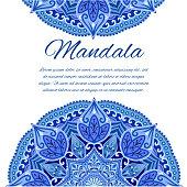 Card with mandala Card or invitation. Blue Wedding Geometric circle element.Islam, Arabic, Indian, turkish, chinese ottoman motifs