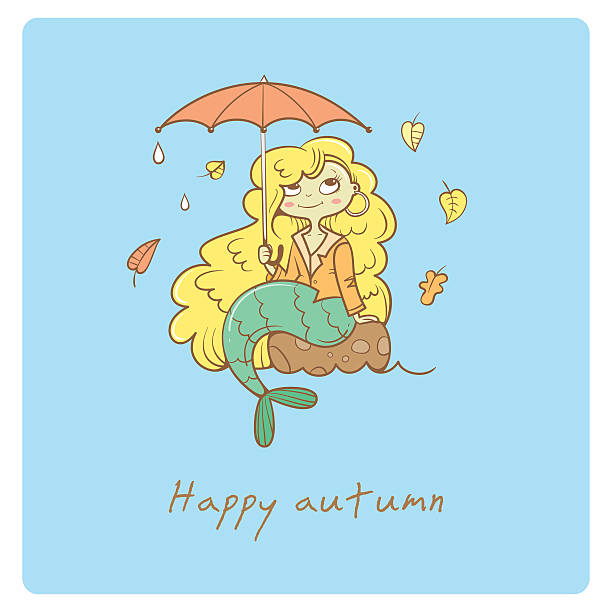 card with mermaid. - kids playing in rain stock illustrations, clip art, cartoons, & icons