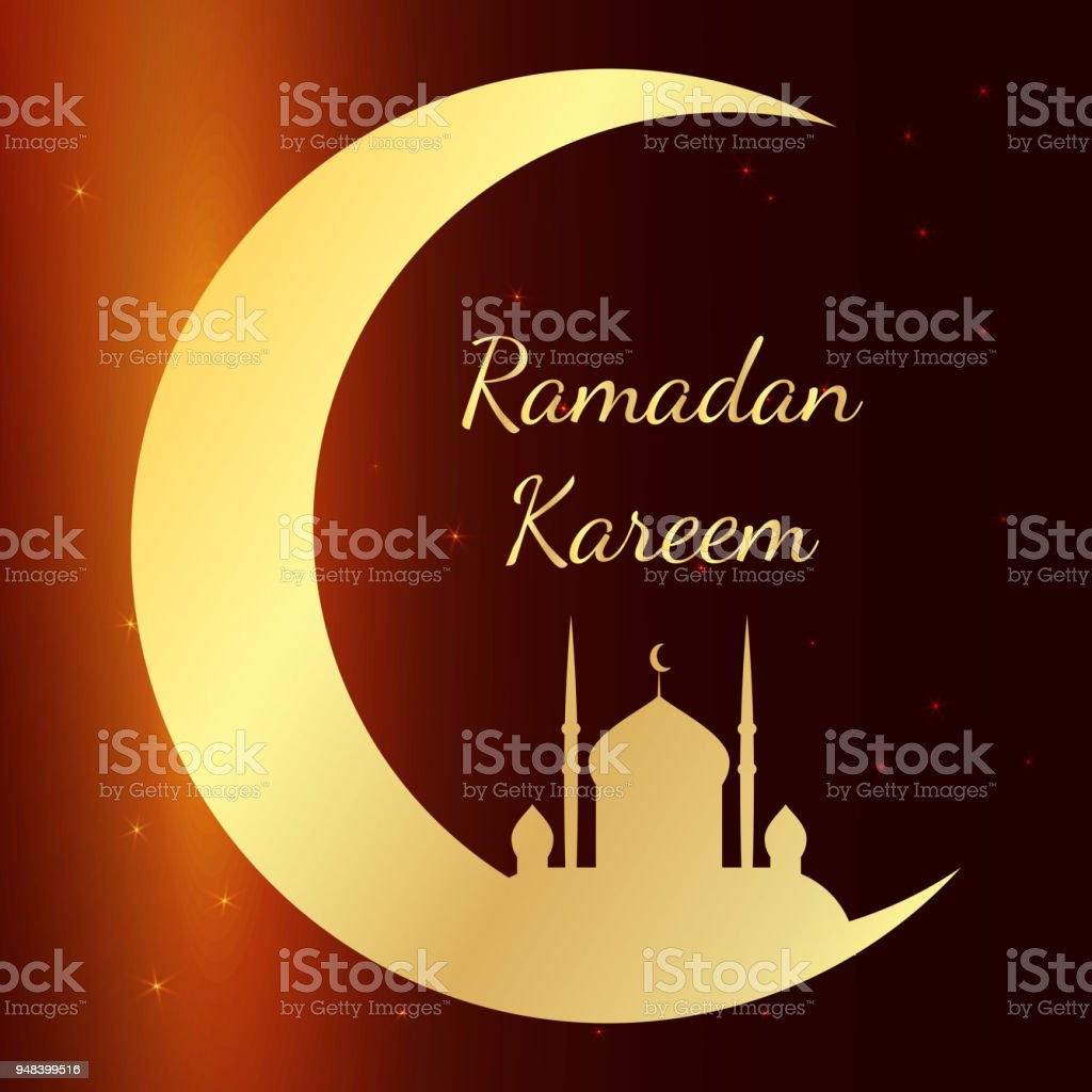 Card with mosque in night for congratulations with beginning of fasting month of Ramadan. Ramadan Kareem Vector illustration vector art illustration