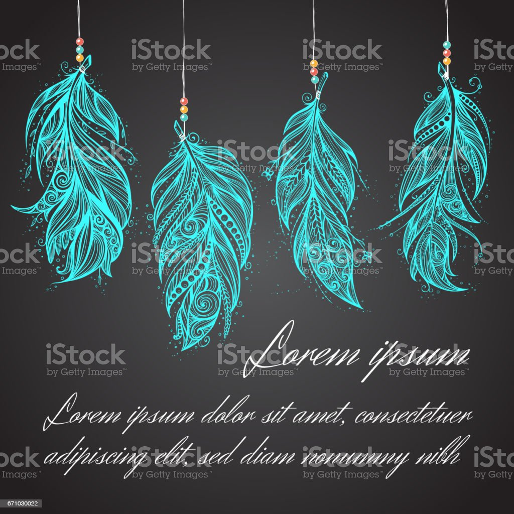 Card with Native American Indian talisman. Vector tribal feathers. - Illustration vectorielle